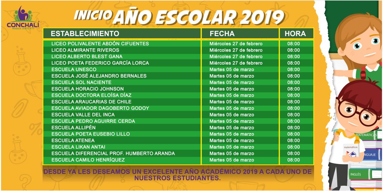INICIO AÑO ESCOLAR 2019