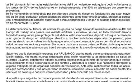 COMUNICADO ÁREA DE SALUD