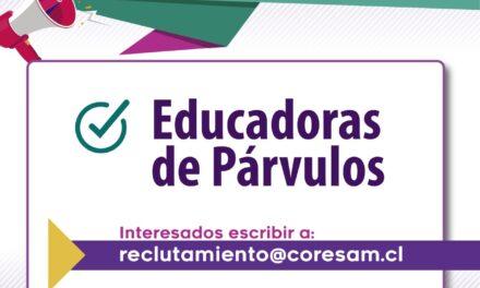 OFERTA LABORAL EDUCADORAS DE PÁRVULOS